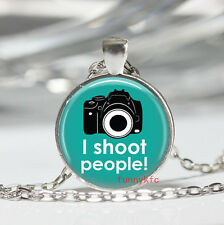 1pcs Vintage camera Cabochon Silver plated Glass Chain Pendant Necklace#01