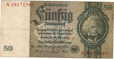 1933 GERMANY DEUTSCHES REICH 50 REICHMARK {A 28171383} ~ Circulated // VF