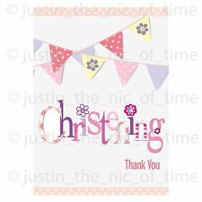 Pink Christening Party Girl Thank You Notes x8