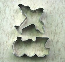 Aeroplane and train fondant pastry baking metal stainless cookie cutter set 832