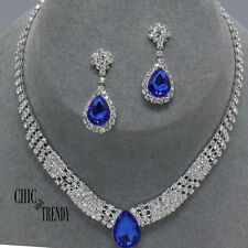 CLASSIC BLUE & CLEAR RHINESTONE CRYSTAL WEDDING FORMAL NECKLACE JEWELRY SET
