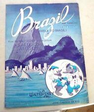 SHEET MUSIC BRASIL BRAZIL AQUARELA DO BRASIL WALT DISNEY SALUDOS AMIGOS 1942