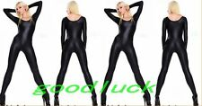 Women Black Lycra Catsuit Scoop Neck Zentai Bodysuit Footed Sexy Lingerie Suit