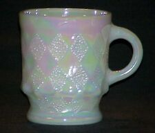 1 FIRE KING FIRE KING ~ WHITE IRIDESCENT AURORA PEARL LUSTER KIMBERLY MUG ~MINT~