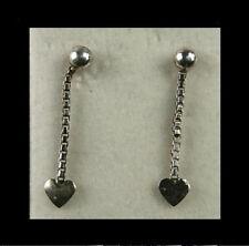 Paar Ohrstecker Herz an Kette Silber ungetragen (0982)