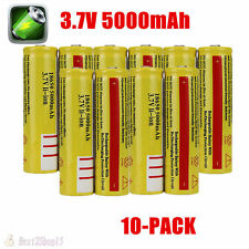 10pcs New 18650 3.7V-4.2V Li-ion Rechargeable Battery 5000mah Deep Durable OB