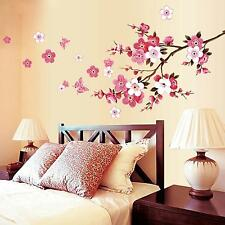 Flower Butterfly Wall Sticker Cherry Peach Blossom Removable Wall Decor Decal