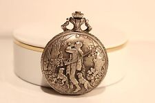 """VINTAGE BEAUTIFUL SWISS MEN'S MECHANICAL POCKET WATCH""""LUCERNE""""WITH HUNTING SCENE"""