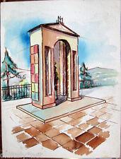 Acquerello '900 su carta Watercolor Architettura futurista cubista razionale-55
