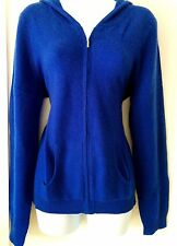 CHARTER CLUB- X-LARGE ROYAL BLUE  100% 2PLY CASHMERE CARDIGAN W/ HOOD, ZIP FRONT