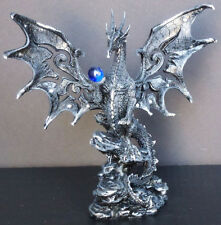 HERALD    Black Medieval Dragon with Blue Globe on Rock     Figure Statue H8""