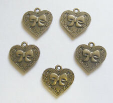5 Metal Antique Bronze Heart Charms with engraved Bow  - 20mm
