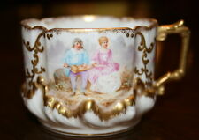 BAWO & DOTTER Elite Limoges Seated Couple Flowers & Gold Trim Cup c. 1896-1900