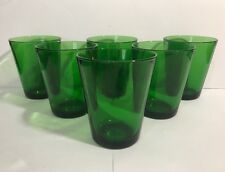 6 Vintage Vereco France Emerald Green 6 oz Juice Glasses - NEAR MINT Condition
