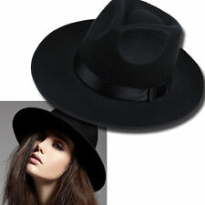 Vintage Women Ribbon Wide Brim Faux Wool Felt Hat Floppy Bowler Fedora Cap