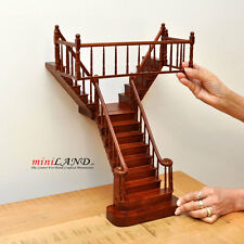 Quality Y Staircase 1:12 Scale Miniature Wooden dollhouse stair WN with rails