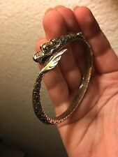 John Hardy Naga King Cuff Dragon Bracelet 925 Sterling Silver 18K Yellow Gold