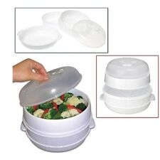 2 Tier Microwave Steamer Microwavable Food Cooker Vegetable Fish Shrimp Dumpling