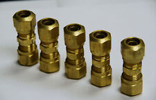 "Brass Fittings: DOT Air Brake Union Compression Fitting, Tube OD 3/8"", Qty. 5"