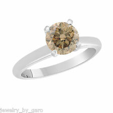 CHAMPAGNE BROWN DIAMOND SOLITAIRE ENGAGEMENT RING 14K WHITE GOLD 0.60 CARAT