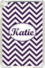 Monogrammed Purple Chevron Design on iPad Mini Frosted Clear Case Cover
