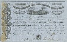Usa Steubenville & Indiana Railroad Company stock certificate 1850'S