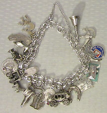 vtg STERLING SILVER CHARM BRACELET full 17p state map travel souvenir DISNEY 52g
