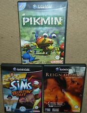JOB LOT 3 x NINTENDO GAMECUBE GAMES Boxed Sims Bustin Out Pikmin Reign of Fire