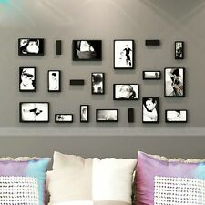 10pcs 3D Wooden Rectangle Removable Black Photo Frame Wall Sticker Decal Art