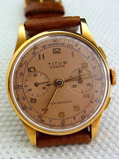 Armband-Chronograph Titus Geneve Non-Magnetic Landeron 48 750/-Gold