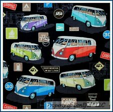 BonEful Fabric FQ Cotton Quilt Black VW Car Van RV Camp Travel Car VW Retro RARE