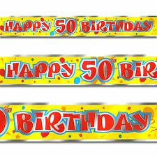 12ft Red Yellow Happy 50th Birthday Party Foil Banner Decoration