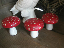 Set 3 rustic RED wood wooden toadstool TOADSTOOLS decorations~Christmas/Woodland