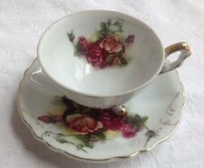 Three Footed Demitasse Rose Cup & Saucer Gold Trim Made in Japan