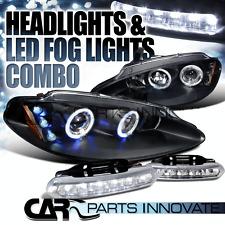 98-04 Dodge Intrepid Black Dual Halo Projector Headlights+6-LED Fog Lamps