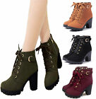 TRENDY WOMENS LADIES MID HIGH HEEL BLOCK PLATFORM LACE UP ANKLE BOOTS SHOES SIZE