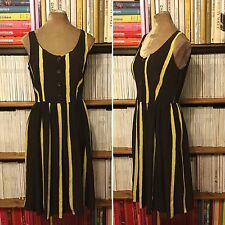 PRADA 100% silk brown yellow stripe dress IT 44 UK 12 US 8