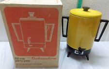 VINTAGE 1970s AMBASSADOR 32 CUP PARTY ELECTRIC PERCOLATOR COFFEE MAKER POT w BOX
