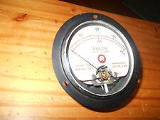 Voltmètre vintage de tableau, rond .0/200volts courant continu  ampli à lampes