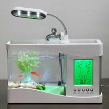 Home Aquarium Small Fish Tank USB LCD Desktop Lamp Light LED Clock White UK