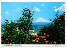 Portland Oregon Postcard City of Roses Mt Hood Rose Gardens Clouds Snow Unposted
