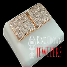 14K ROSE GOLD FINISH LAB DIAMOND STUD PUFFED PILLOW STYLE EARRINGS SCREW BACK