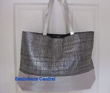 Signature Club A by Adrienne Silver Laminated Paper Straw Tote NEW!!