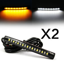 2x Strip Light Tail Turn Signal Indicator 17 LED White+Amber For Cars Motorcycle