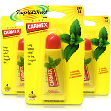 3x Carmex Moisturising Mint Lip Balm Tube SPF15 For Dry Chapped Cracked Lips 10g