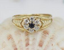 Traumhaft schöner Ring aus 750 Gelbgold mit Saphir & weißen Steinen - Gr 53