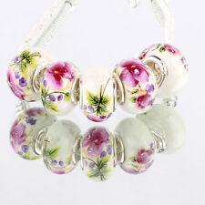 Beauty flowers 5pcs MURANO glass bead LAMPWORK fit European Charm Bracelet