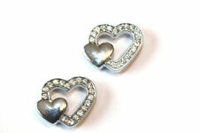 4pc Silver Heart Rhinestone Connector Charms 1-3 day Shipping