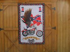 "Born In U.S.A. Wall Decoration 54"" x 34"" Banner w/ Motorcycle, Flag and Eagle #2"
