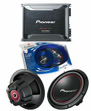"Pioneer GM-D8601 Amplifier w/ 2 TS-W304R 12"" Subwoofers & 4Ga Amp Kit"